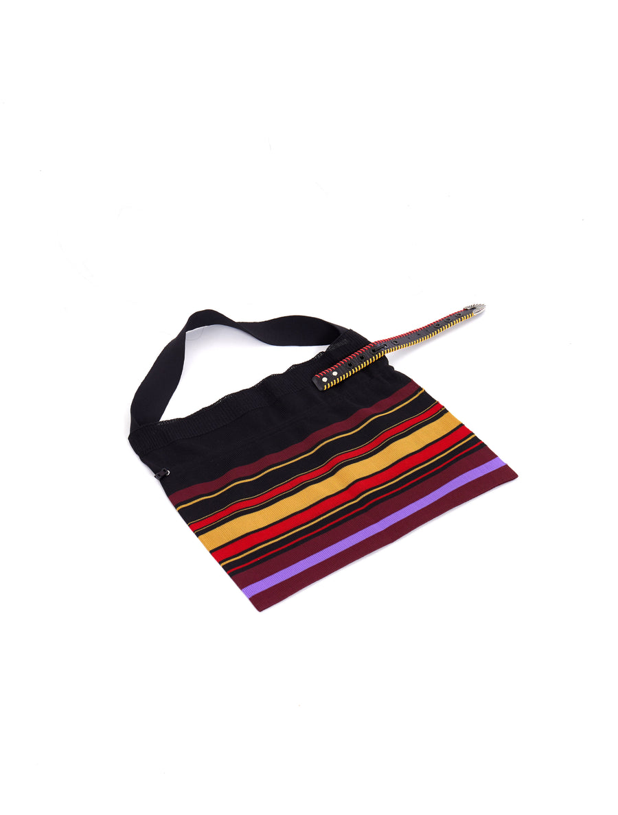 Toga Pulla Black Buckle Multi Color Knitted Bag