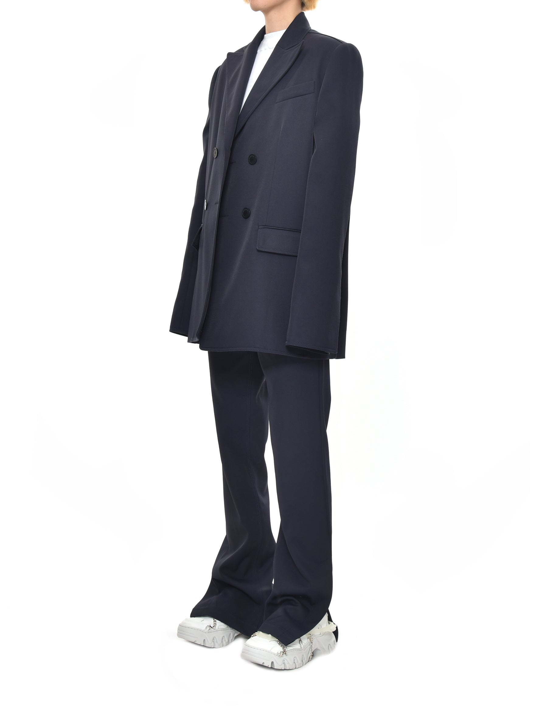 Topstitch Navy Suit Jacket