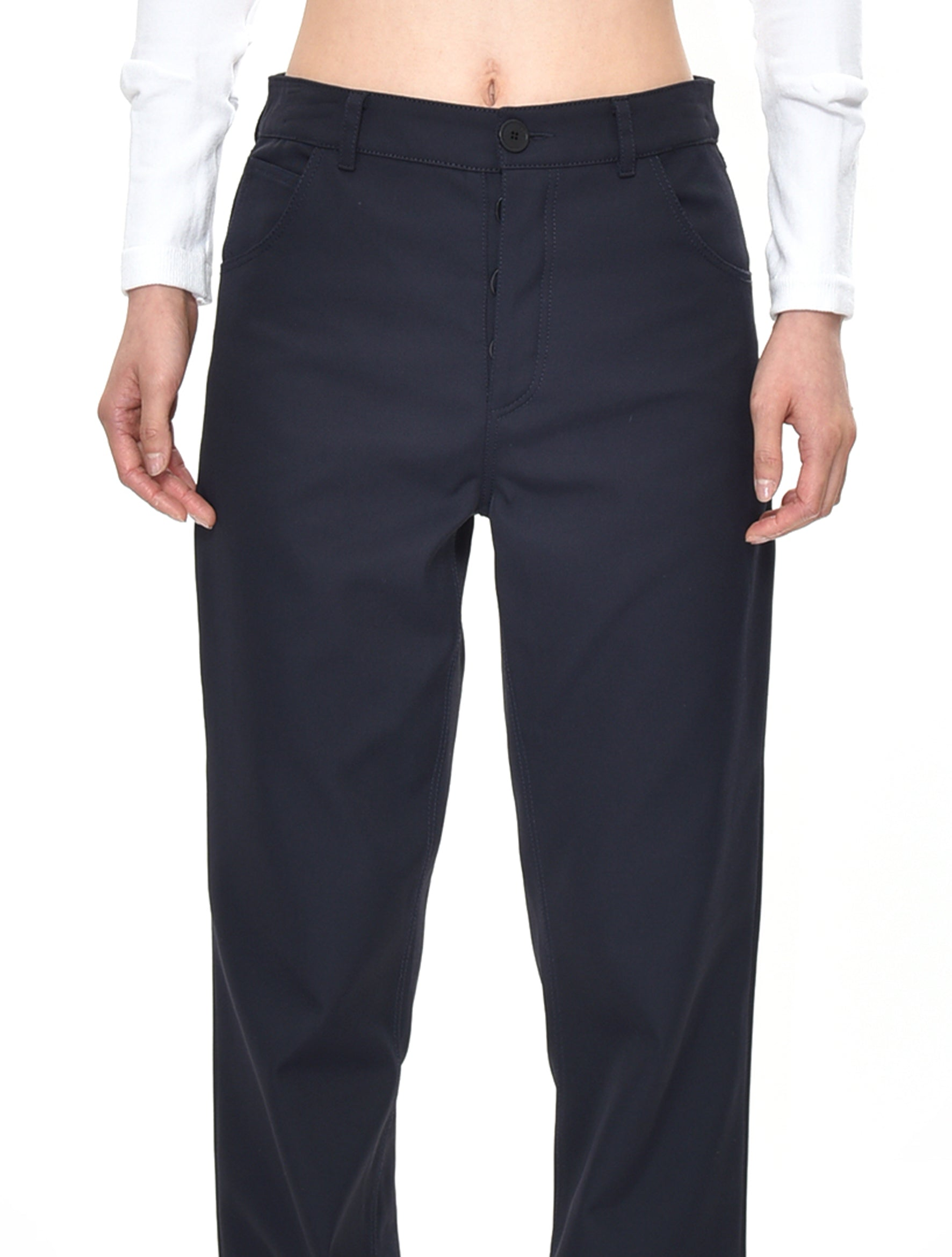 Navy Topostitch Trousers