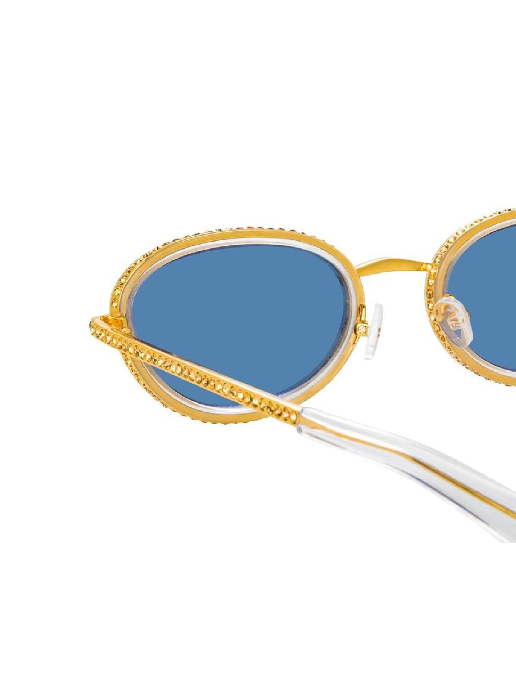 Oval Sunglasses in Yellow Gold Tone