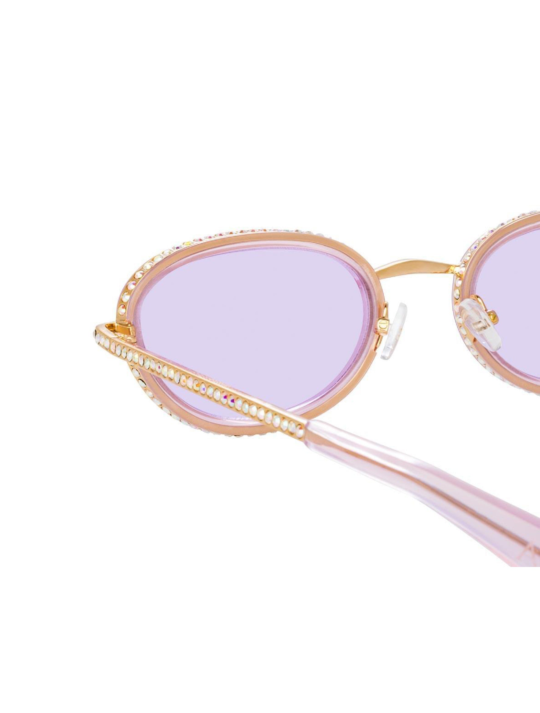 Oval Sunglasses in Light Gold Tone