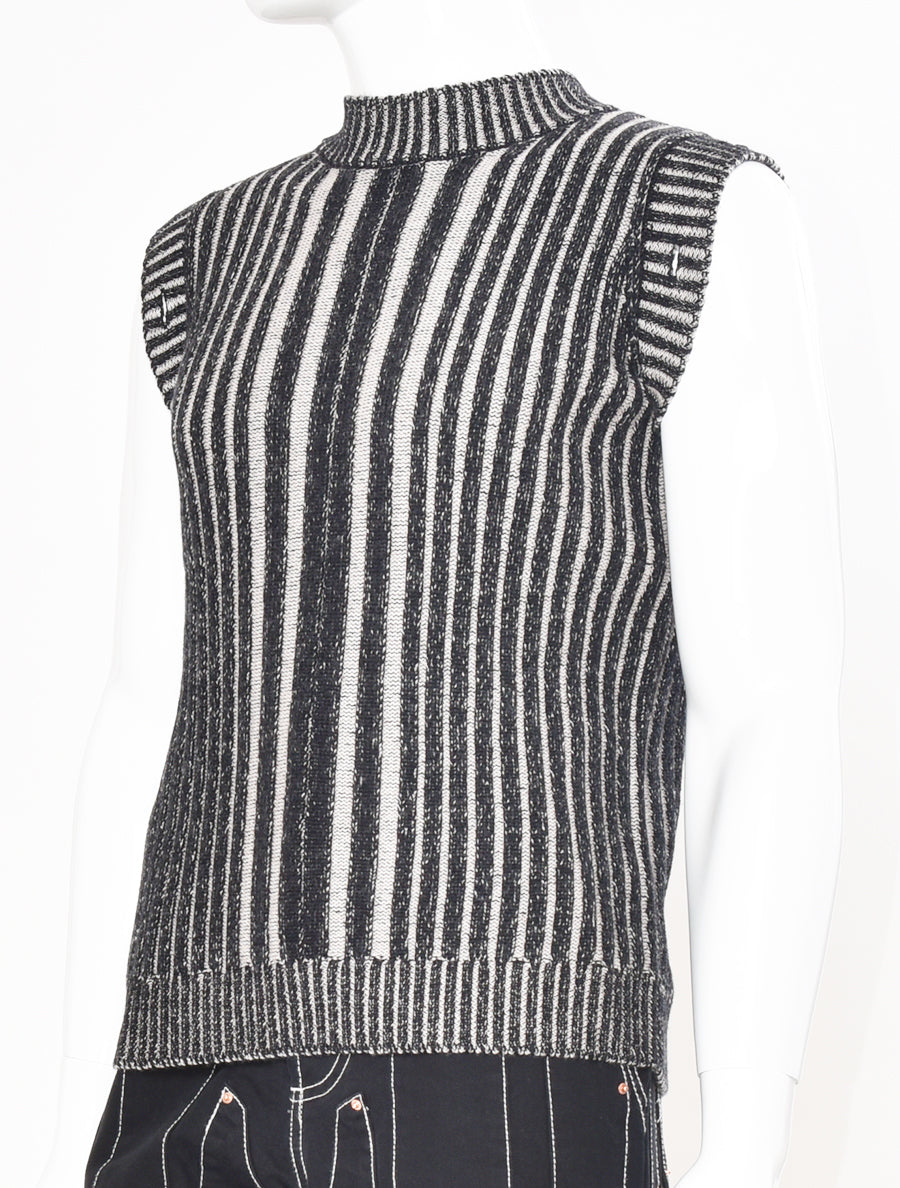 Knitted Contrast Rib Jumper Charcoal