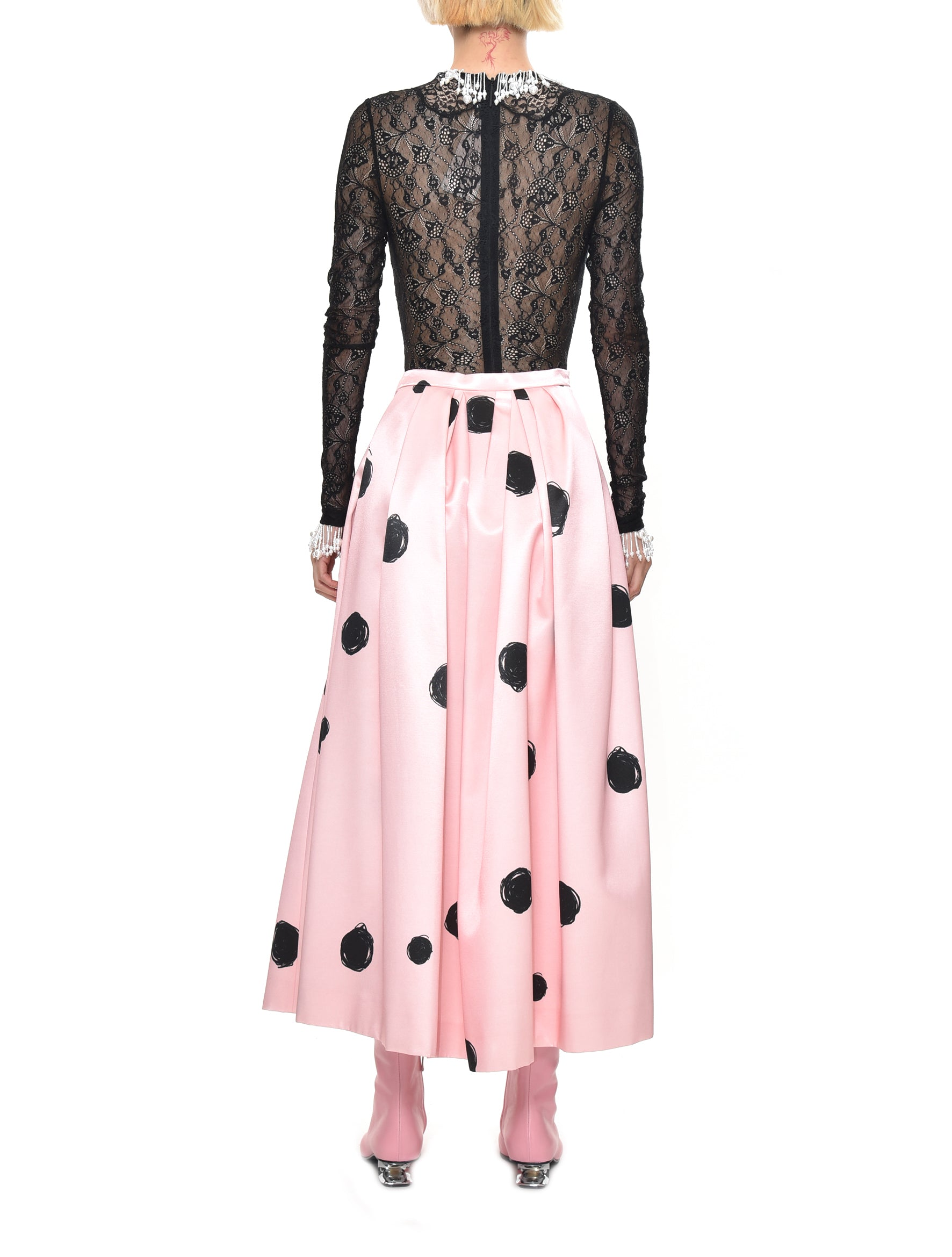 Dot Print Satin Skirt