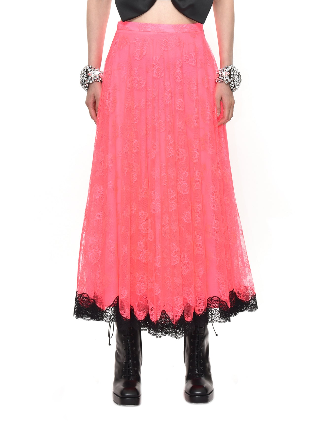 Neon Lace Maxi Skirt