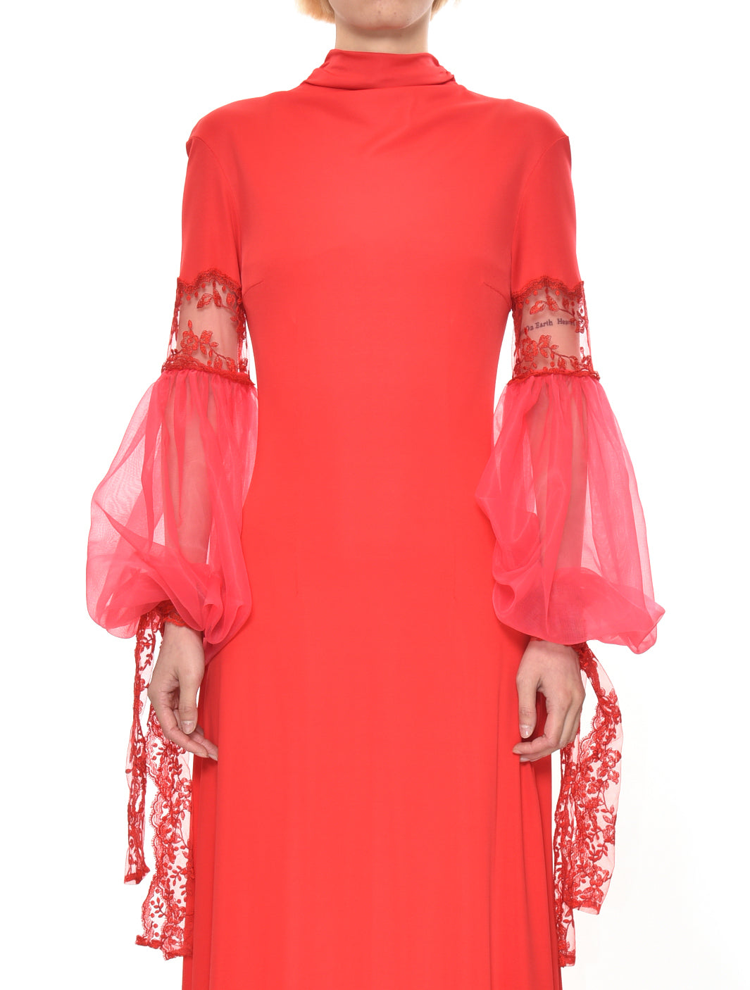 Red Mesh Sleeve Jersey Dress