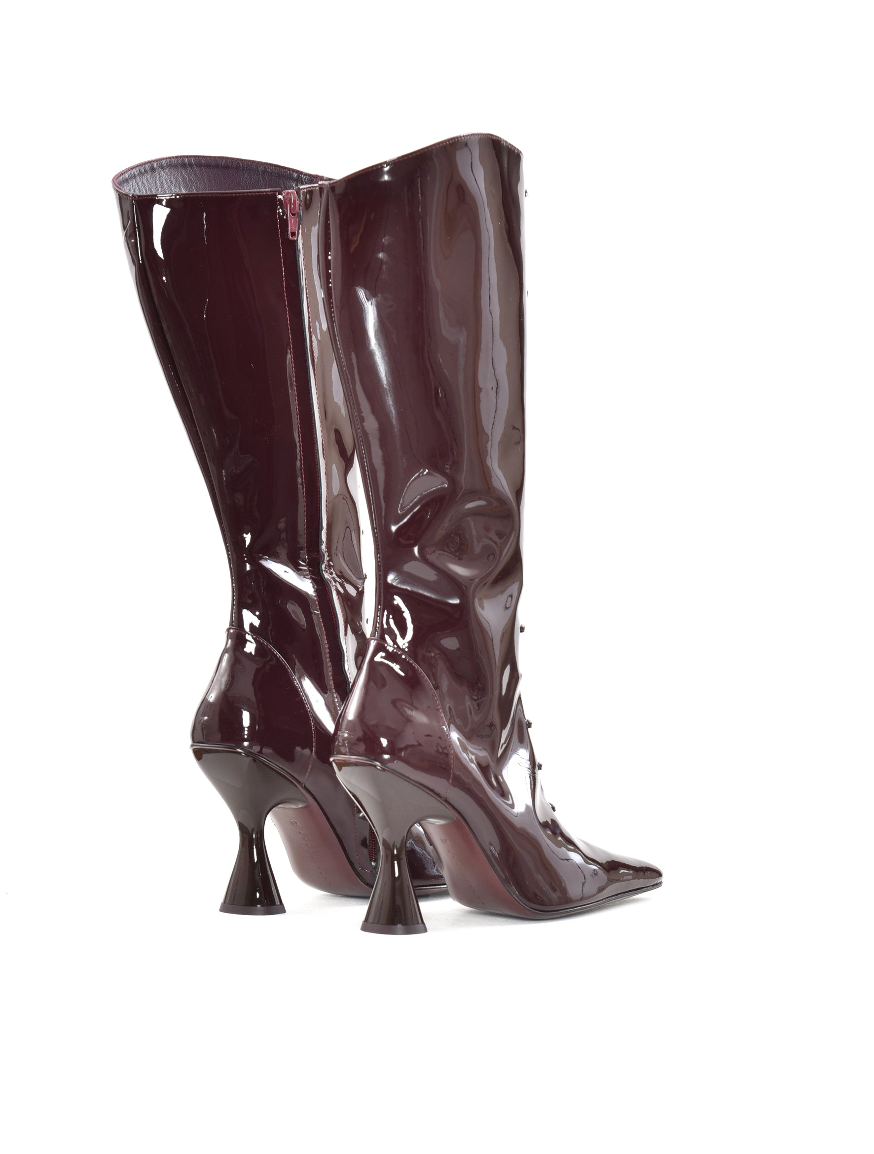 Dorateymur Stainless Lace-Up Burgundy Patent Boot