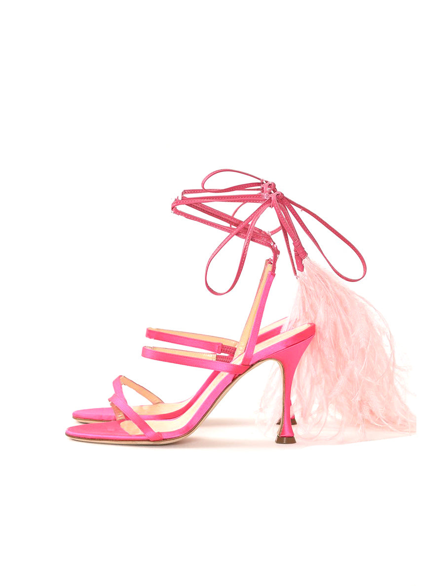 Chee Kee Feather Tie Satin Leather Sandals