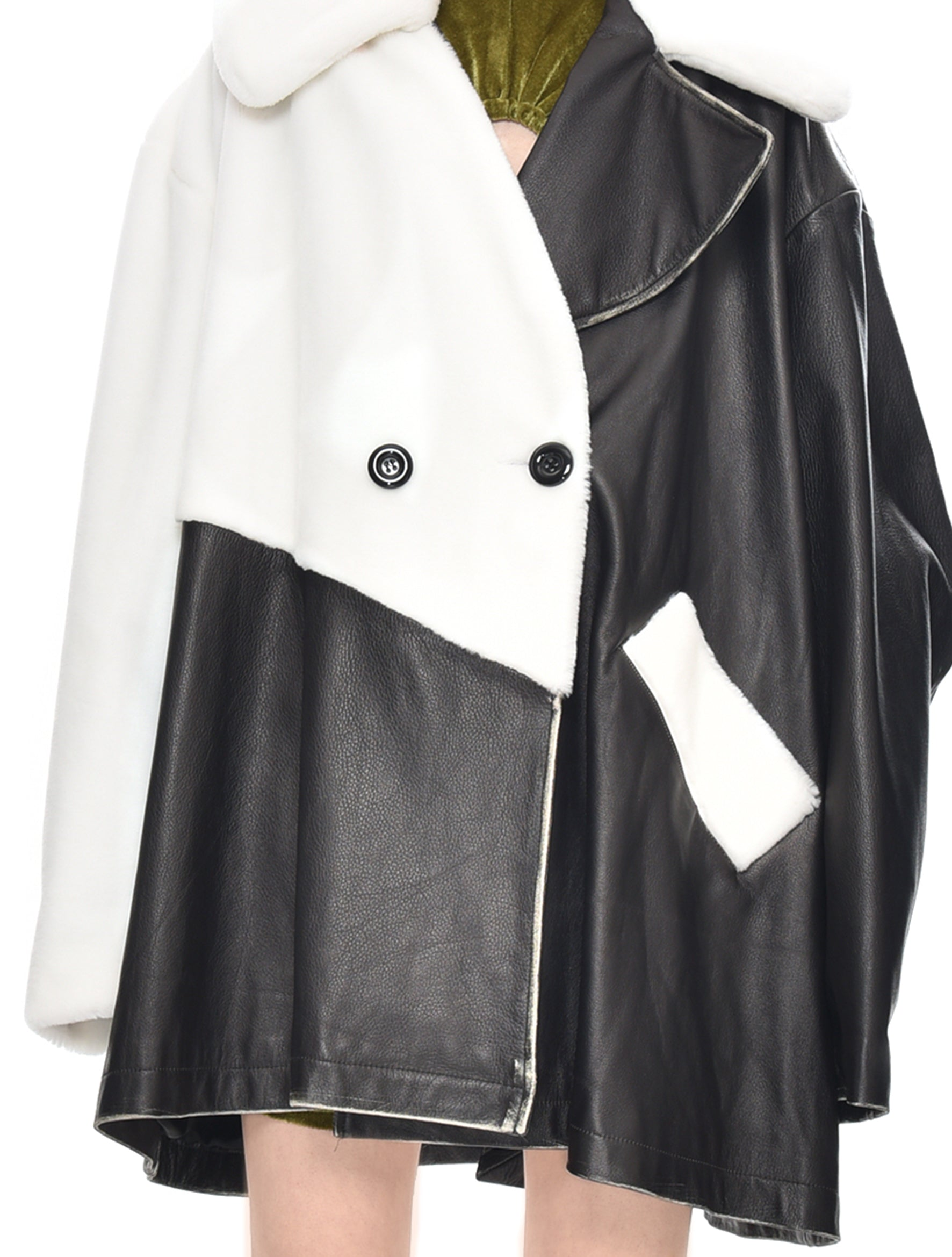 Mohair And Cow Leather Coat