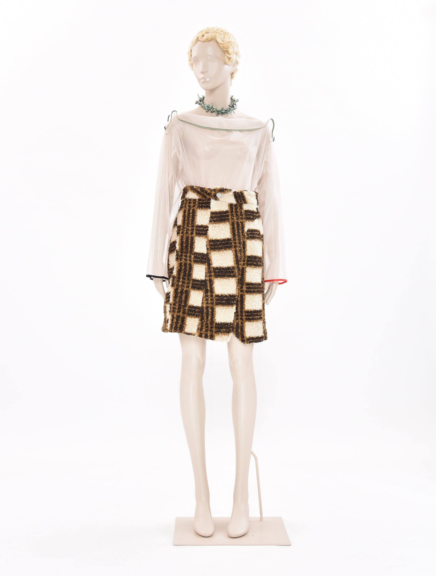 x DDP Brown Check Skirt