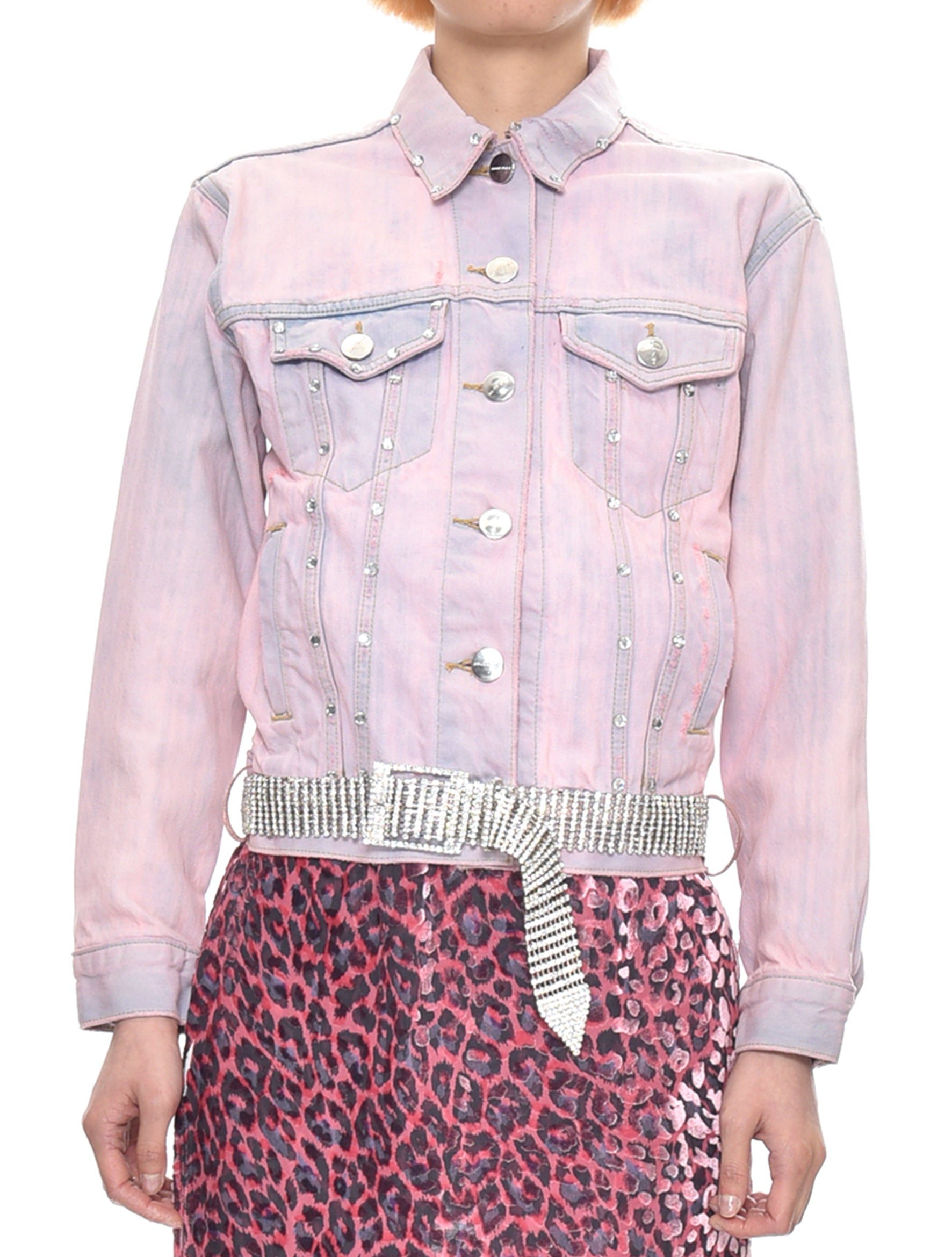 Tie Dye Crystal Denim Jacket