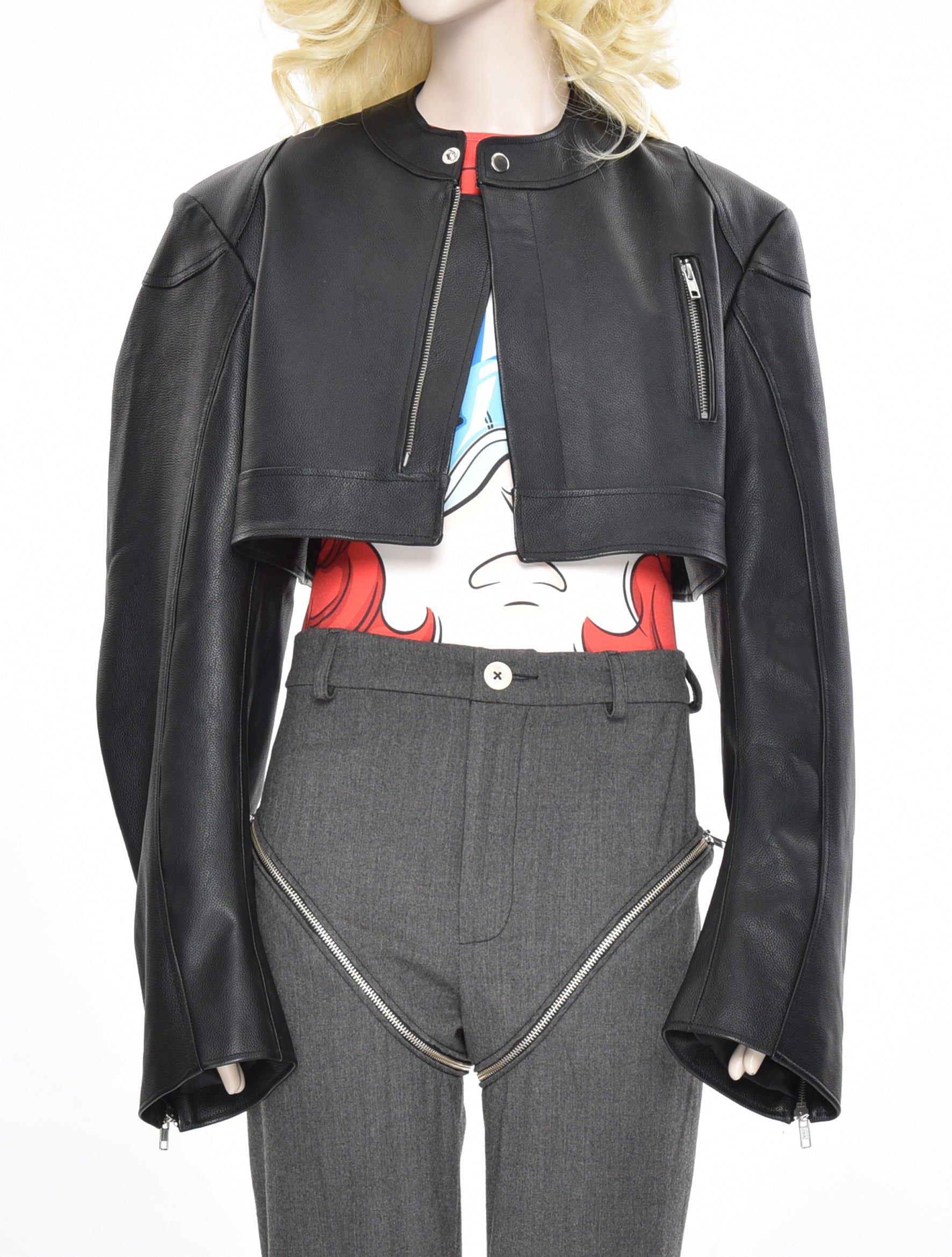 Male Cow Leather Crop Jacket