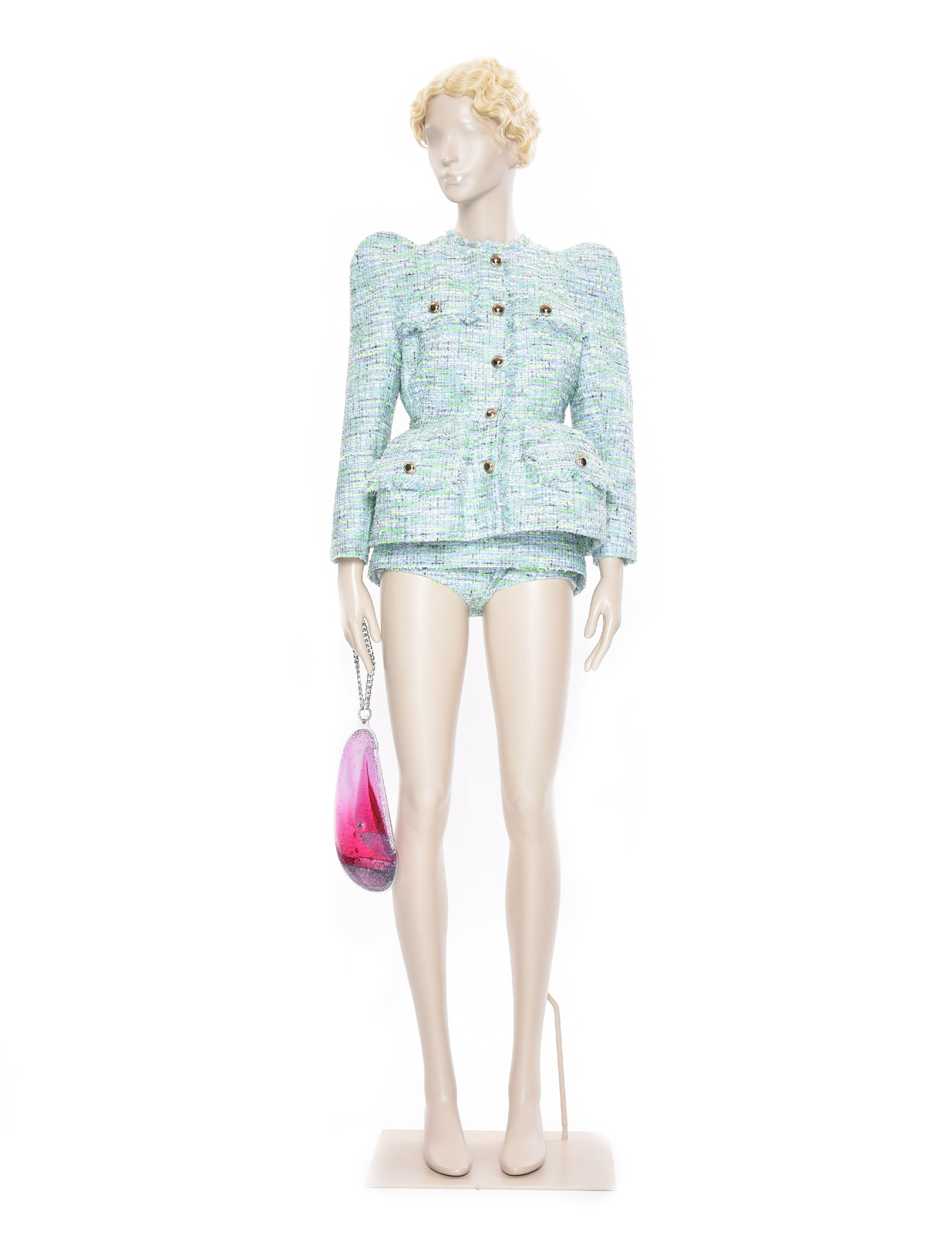 Exaggerated Hip Blue Tweed Blazer