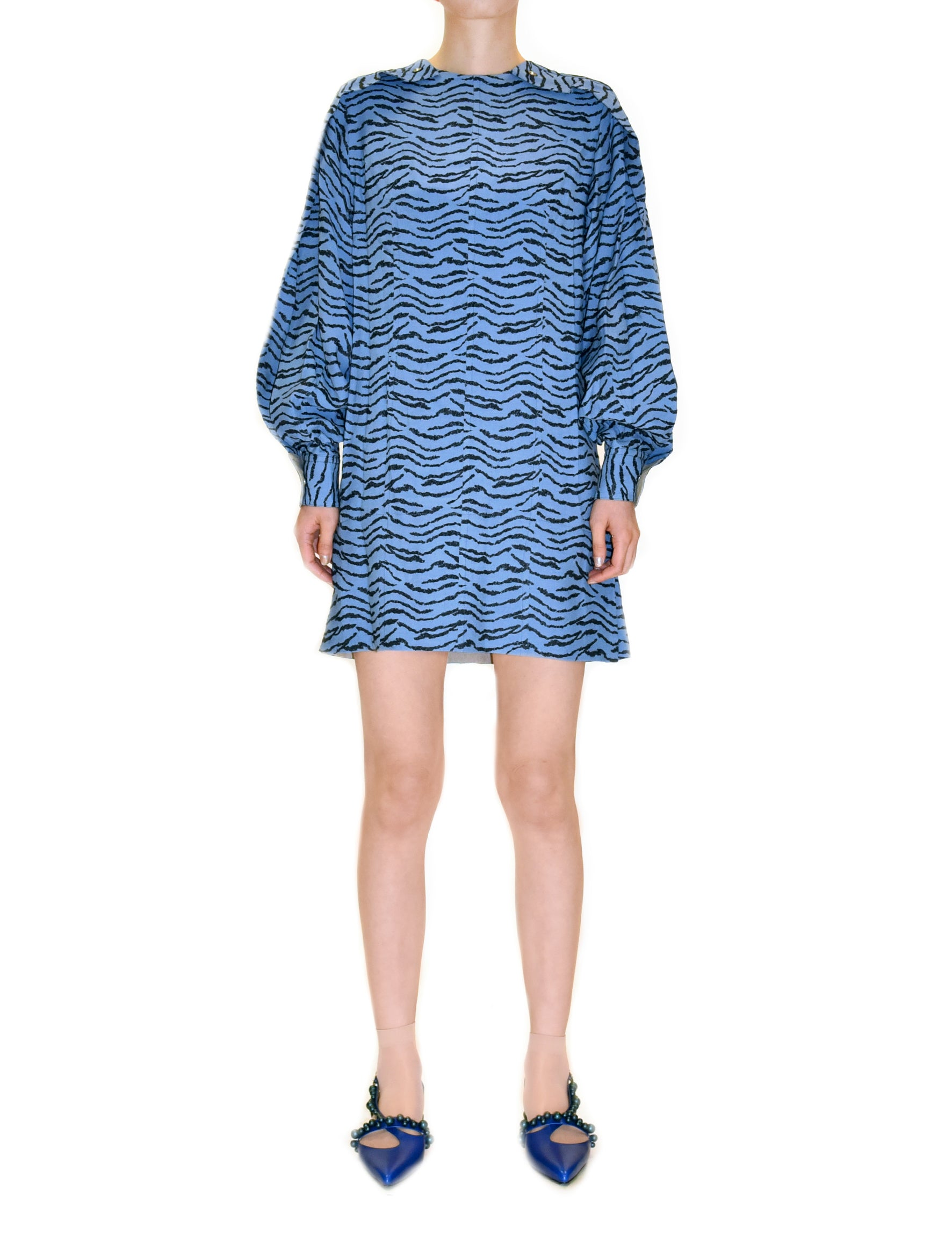 Toga Pulla Light Blue Jacquard Dress