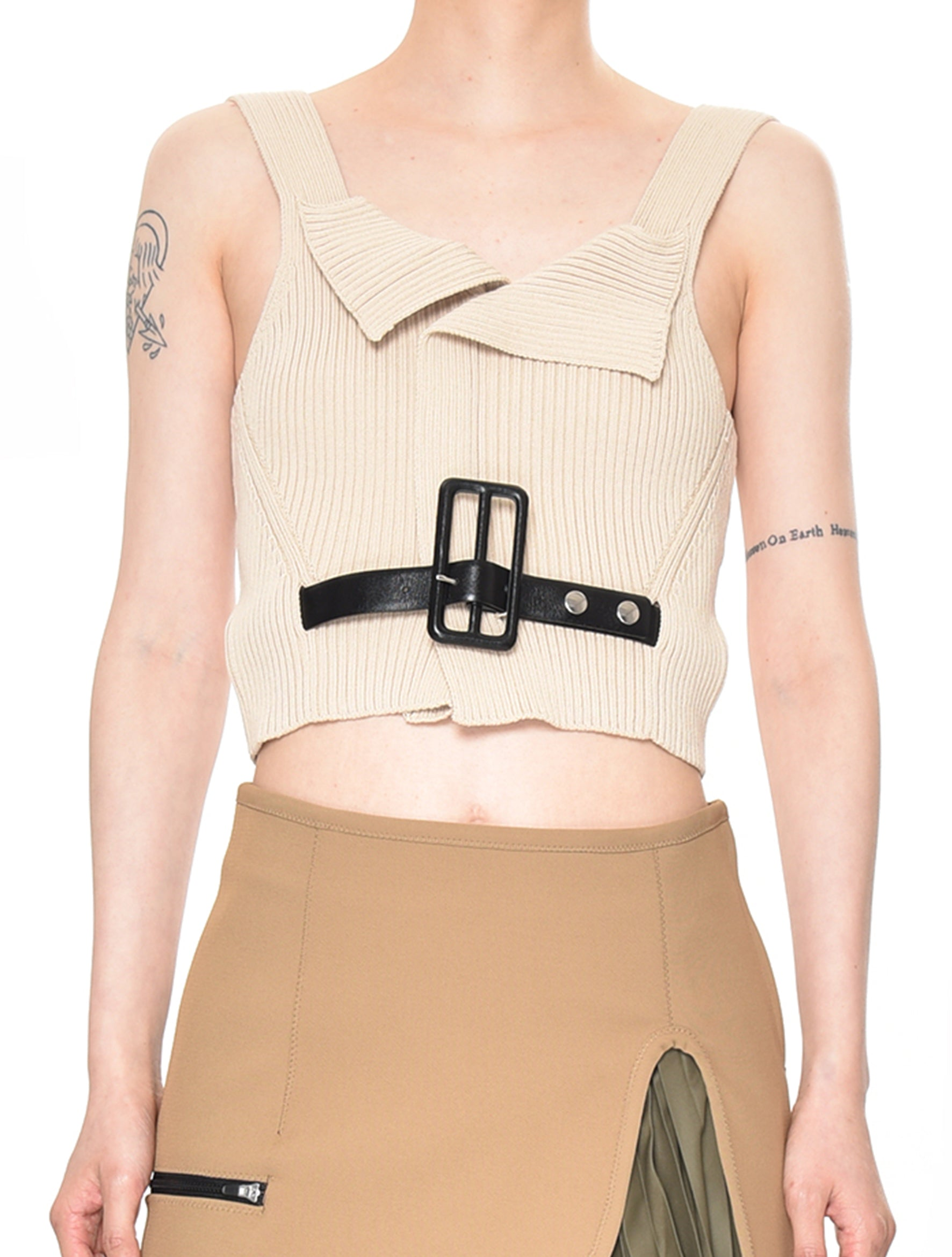 Nude Rib Knit Tank Top With Belt