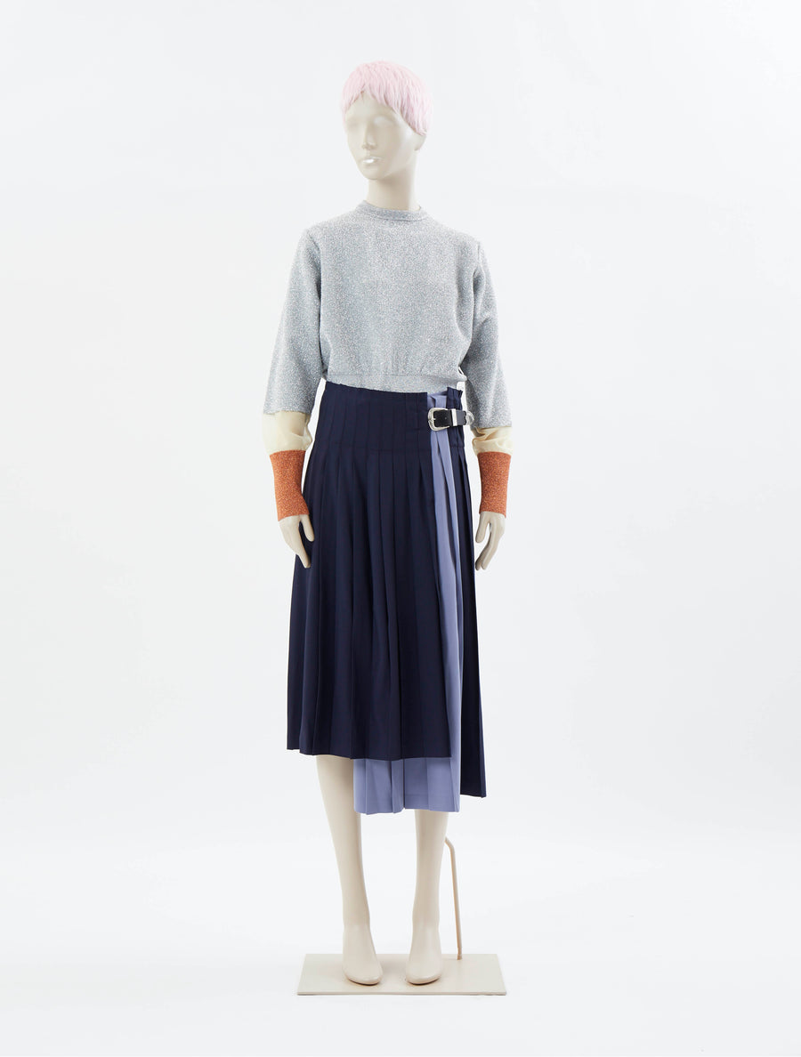 Toga Pulla Wool Pleated Skirt