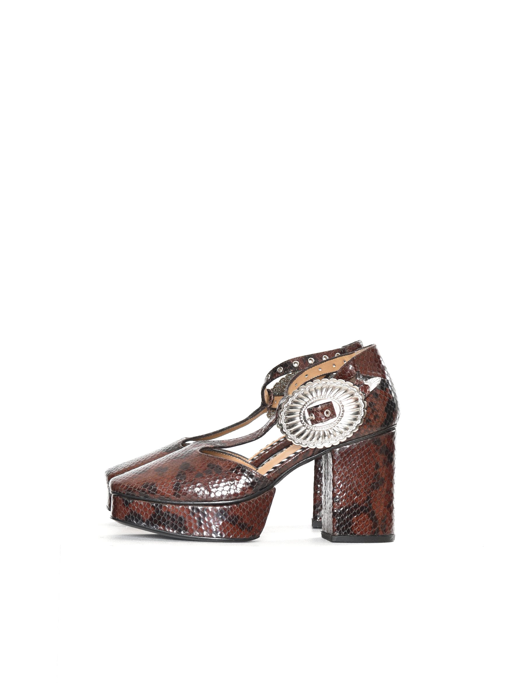Brown Embossed Snake Platform Heel