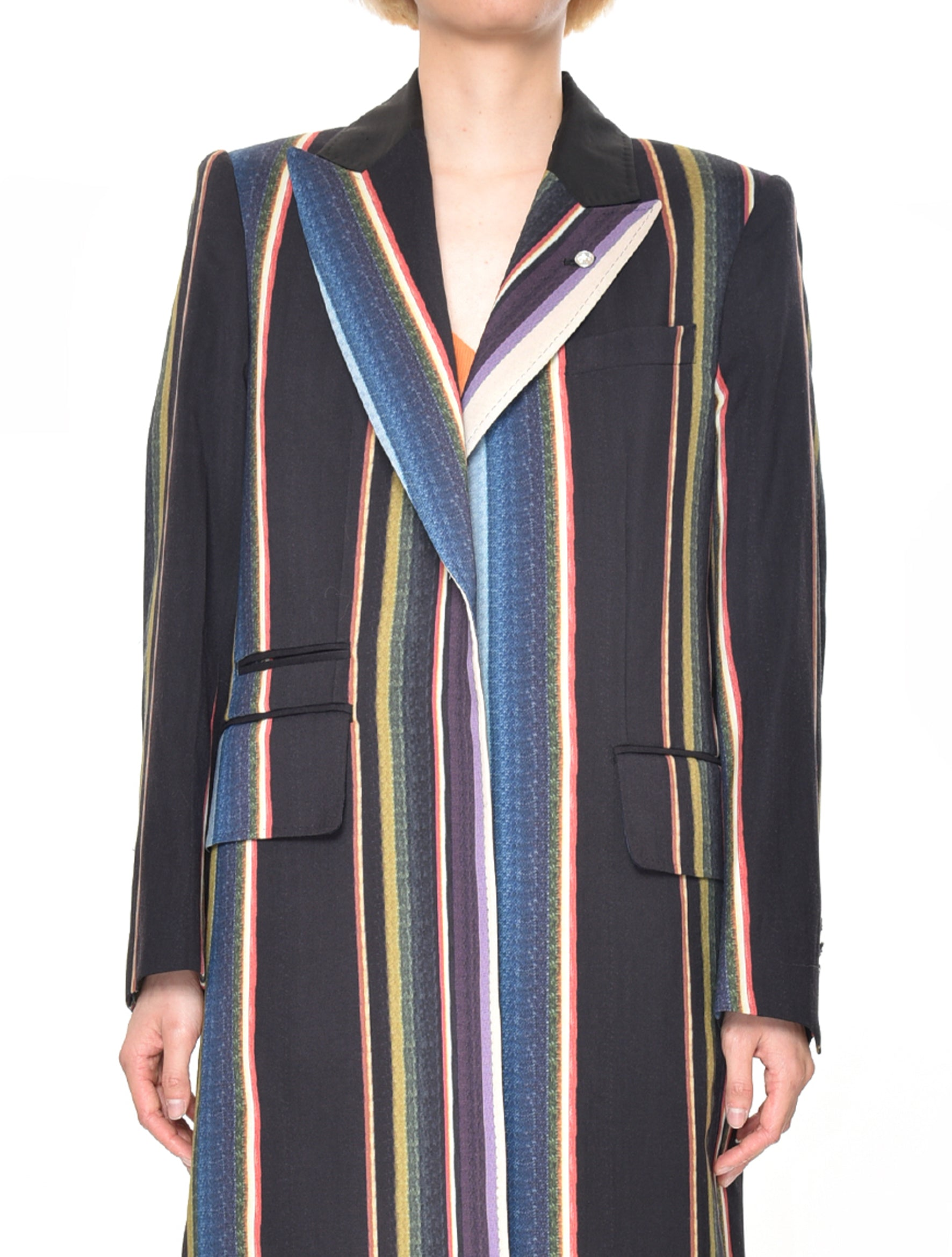 Stripe Suiting Wool Coat