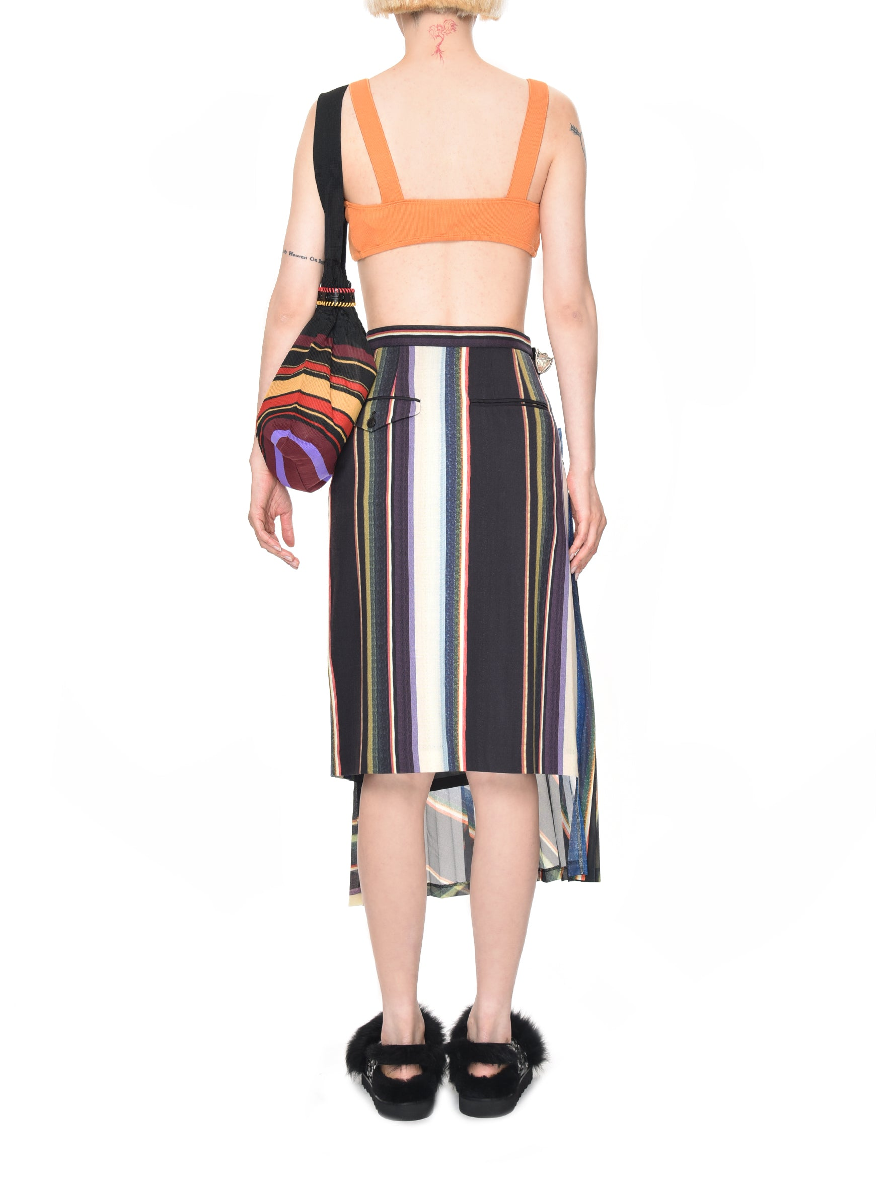 Stripe Suiting Wool Pleated Skirt