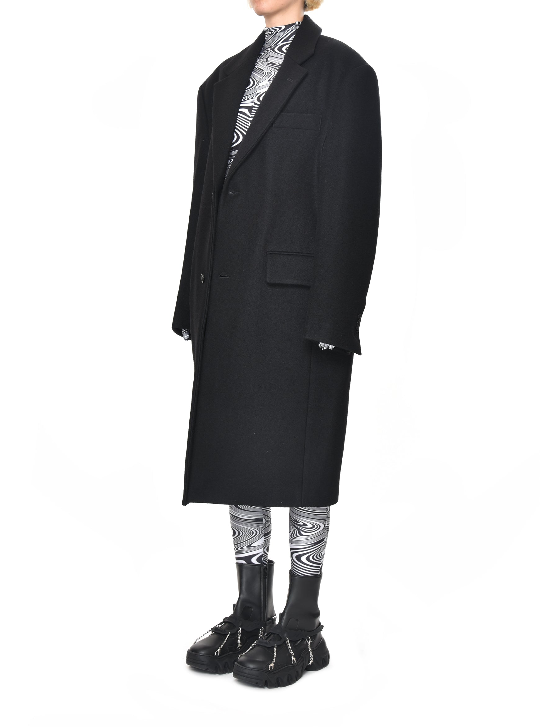 Black Felt Two Button Overcoat