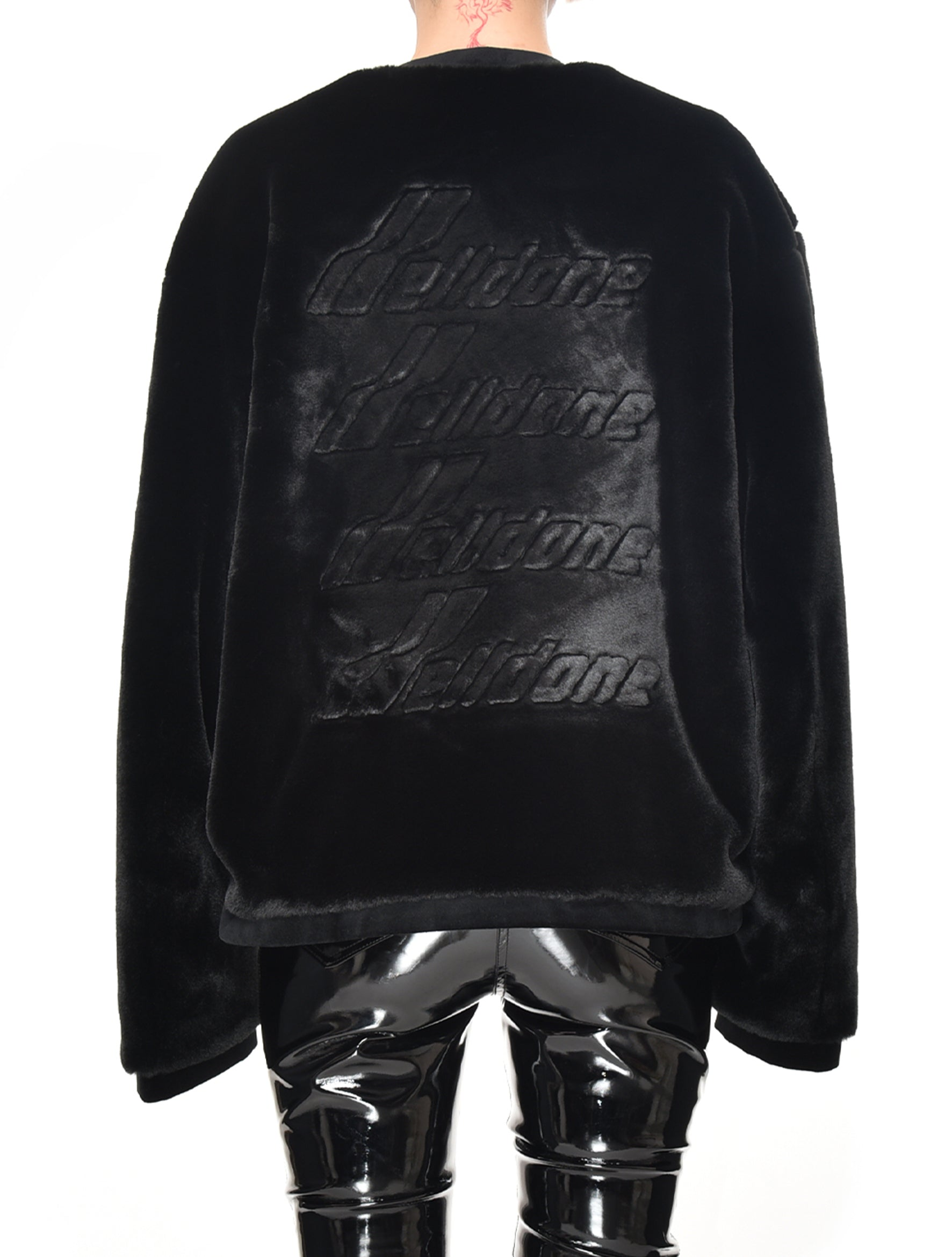 Black Fake Fur Round Neck Jacket