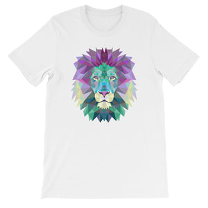 Lion Polygon Graphic Short-Sleeve T-Shirt Purple & Blue Graphic Top For Men & Women