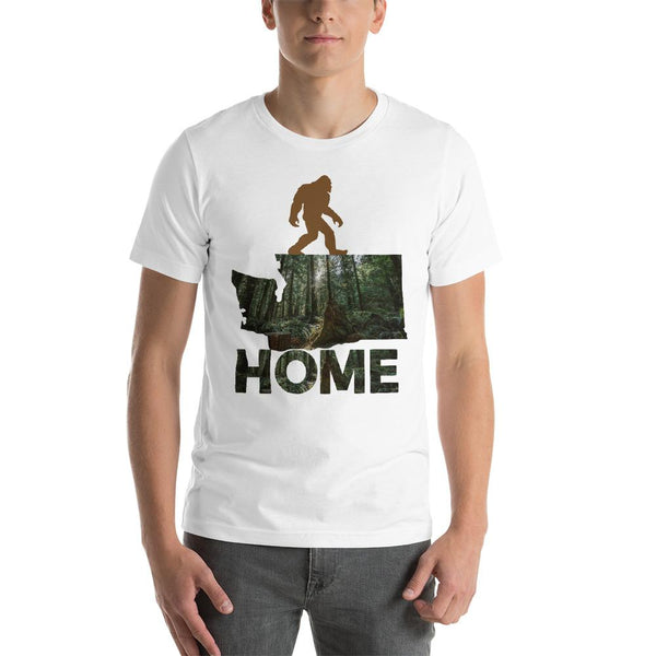 Sasquatch Washington State Map Home Graphic T-Shirt For Men & Women