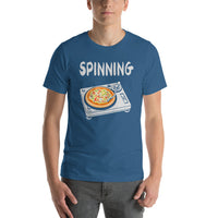 Spinning Records Pizza Pie On Turntable Graphic Short-Sleeve T-Shirt