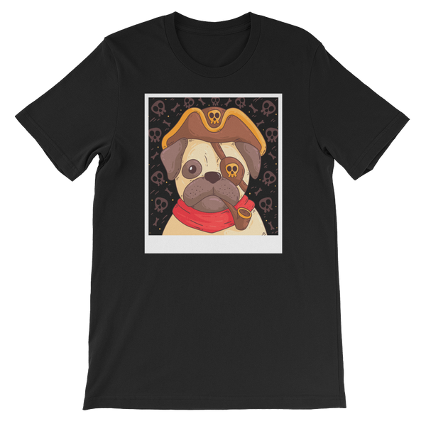 Pug In A Pirate Costume Dog Graphic T-Shirt