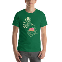 Gramophone Record Player With A Donut Short-Sleeve T-Shirt