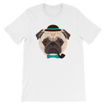 Cool & Hip Sherlock Pug Dog Graphic T-Shirt
