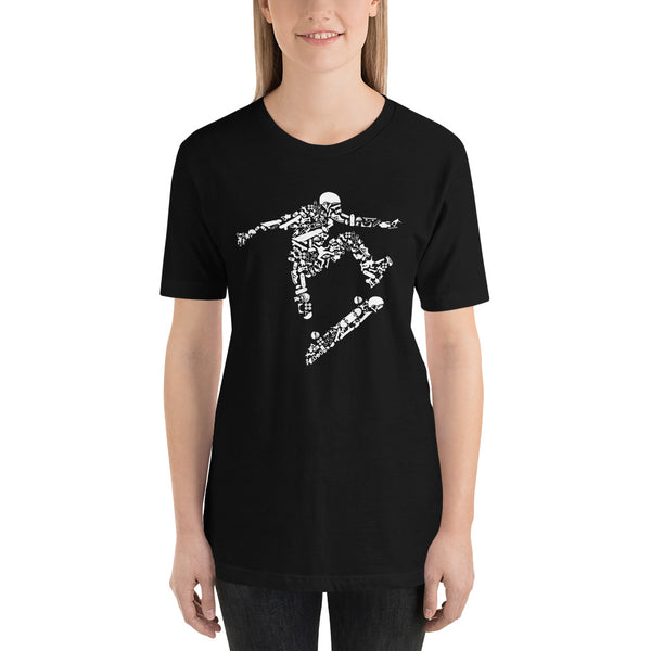Typography Skater Image Outline Filled With Skater Image Icons Short-Sleeve T-Shirt