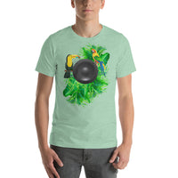 Cool Summer Tropical Scene Foliage Birds & Speaker Graphic T-Shirt