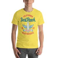 California Surf Beach Blue Paradise West Coast 1987 Vintage Graphic T-Shirt