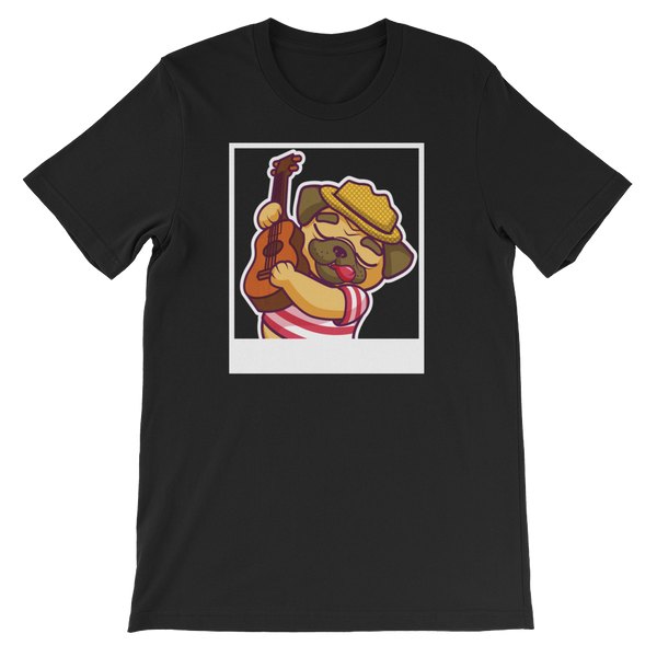 Pug Playing The Guitar Dog Graphic T-Shirt