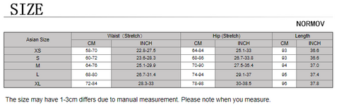 fitness leggings size chart