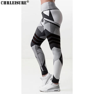 Fitness Leggings Black White Stitching Print