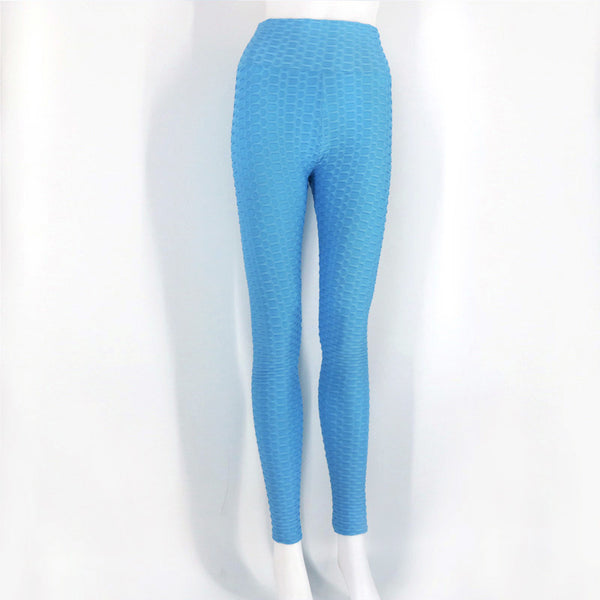 Sexy Women High Elastic Fitness Sport Leggings - Light Blue