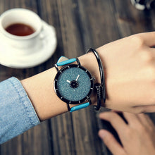 Fashion Starry sky women watch leather strap - Shiny jewels store