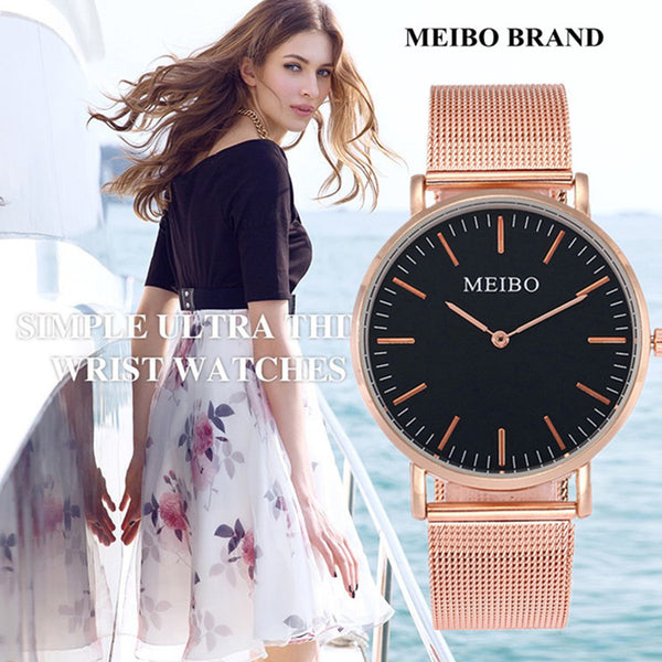 Ultra Thin Quartz Casual Watch for Women with Stainless Steel Mesh Strap