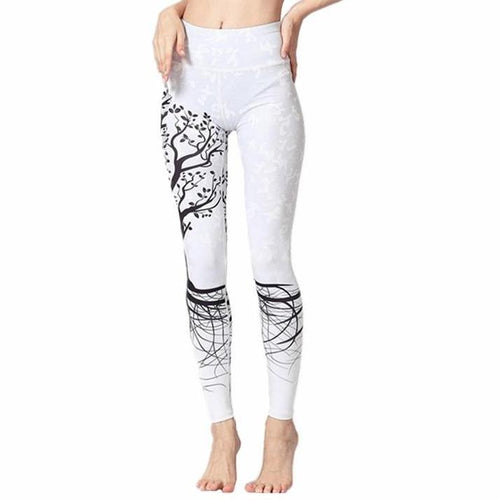Women's Yoga Pants White with Tree - Shiny jewels store