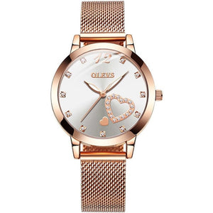 Luminous Rose Gold Stainless Steel Watch for Women
