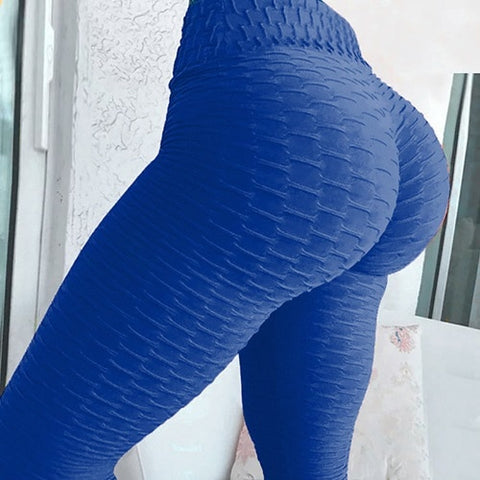 Sexy Women High Elastic Fitness Sport Leggings - Deep Blue