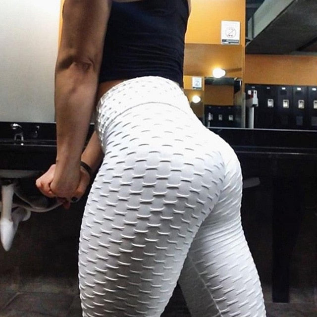 White Sexy Fitness Push-Up Leggings