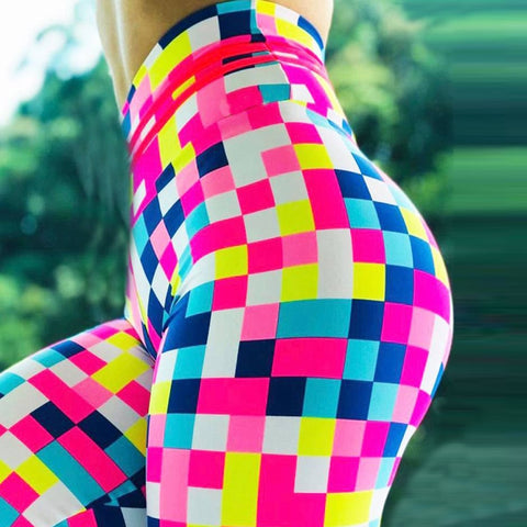 Fitness high waisted colorful print leggings