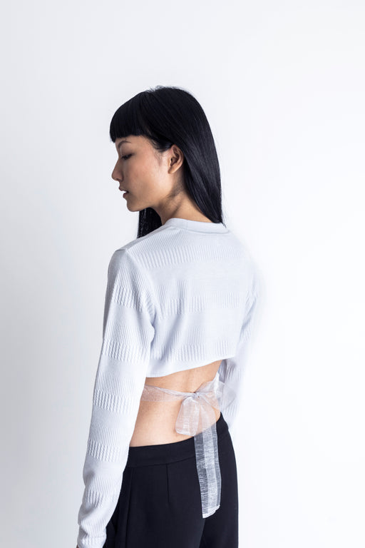 Back Cut-out Jacquard Top
