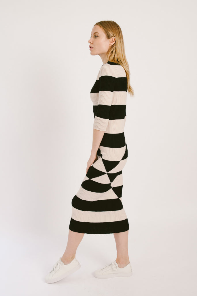 Black and White Stripe Midi Wool Dress