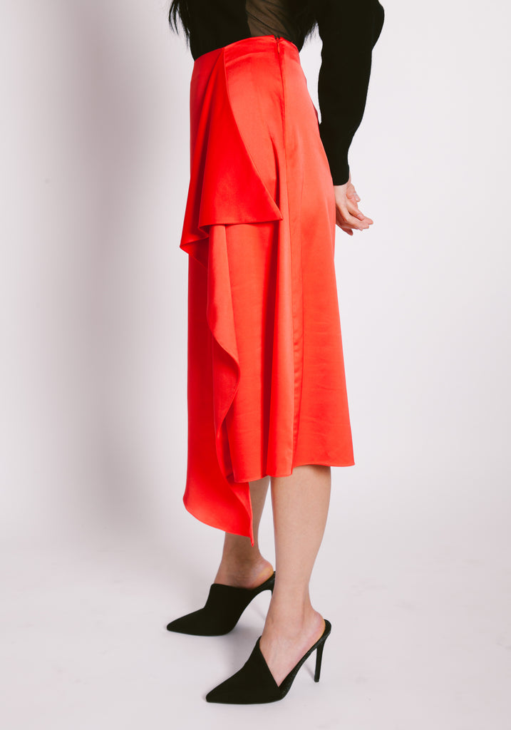Front Drape Satin Skirt - 2s-twoways