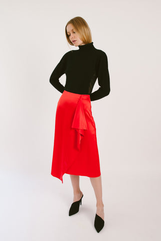 Front Drape Satin Skirt
