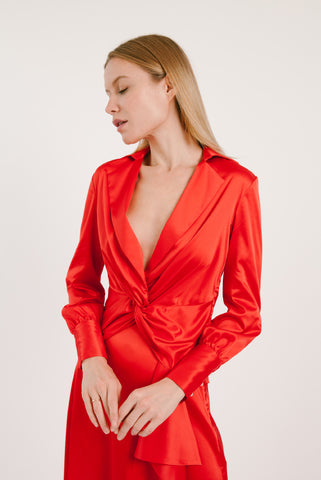Front Twist Satin blouse