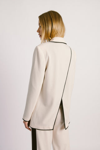 Overlap Back Wool Blazer